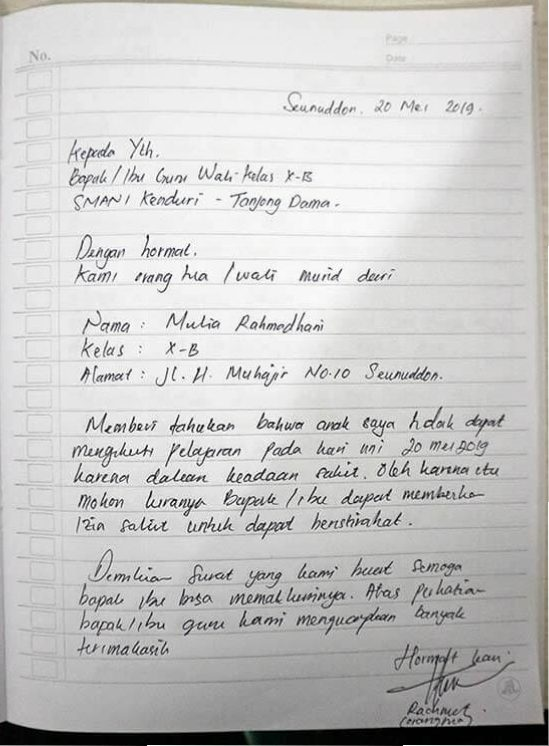Contoh Surat Izin Tidak Masuk Sekolah Tulis Tangan