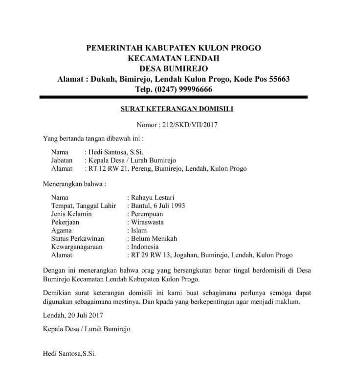 10 Contoh Surat Keterangan Domisili Pribadi Kitas Perusahaan Dan Lembaga Dari Kelurahan Desa Dan Rt Rw Contoh Surat