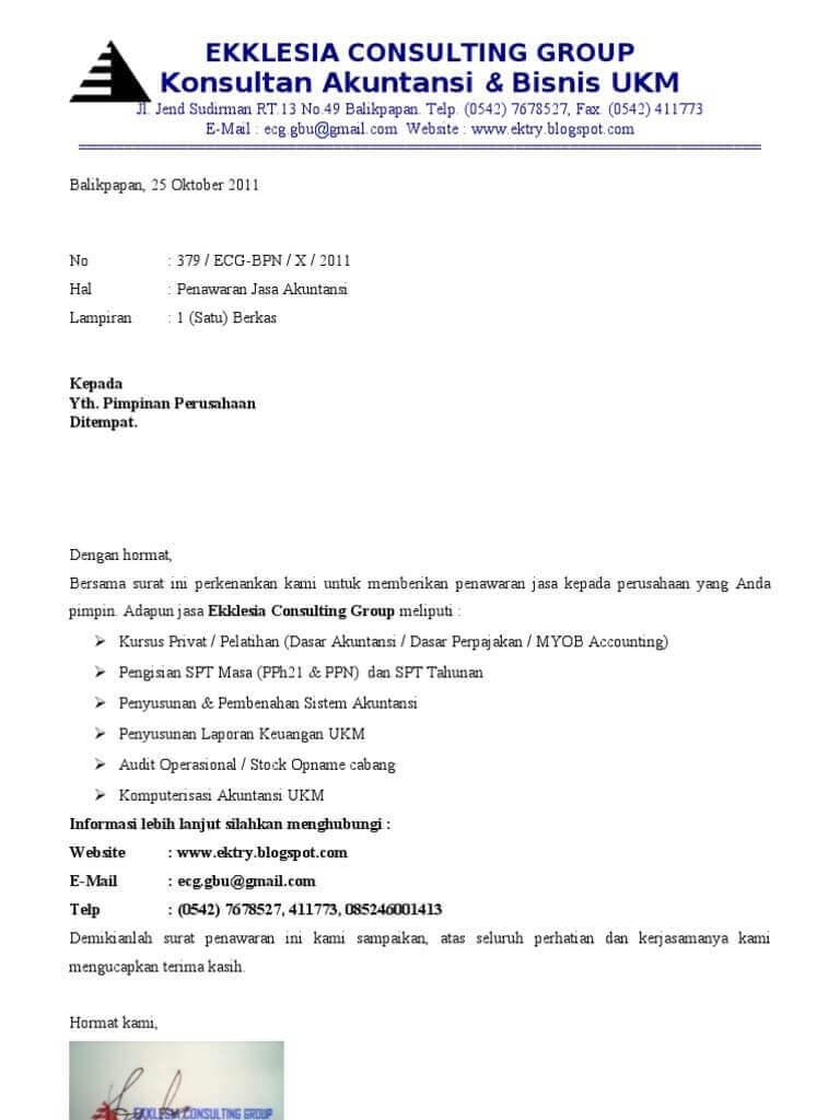 Contoh Surat Penawaran Jasa Service