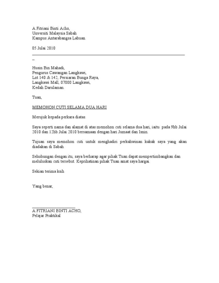 18 Contoh Surat Izin Cuti Libur Tidak Masuk Kerja Bagi Karyawan Pns Dan Pegawai Swasta Contoh Surat