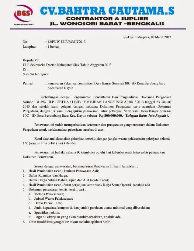 contoh surat penawaran jasa konstruksi