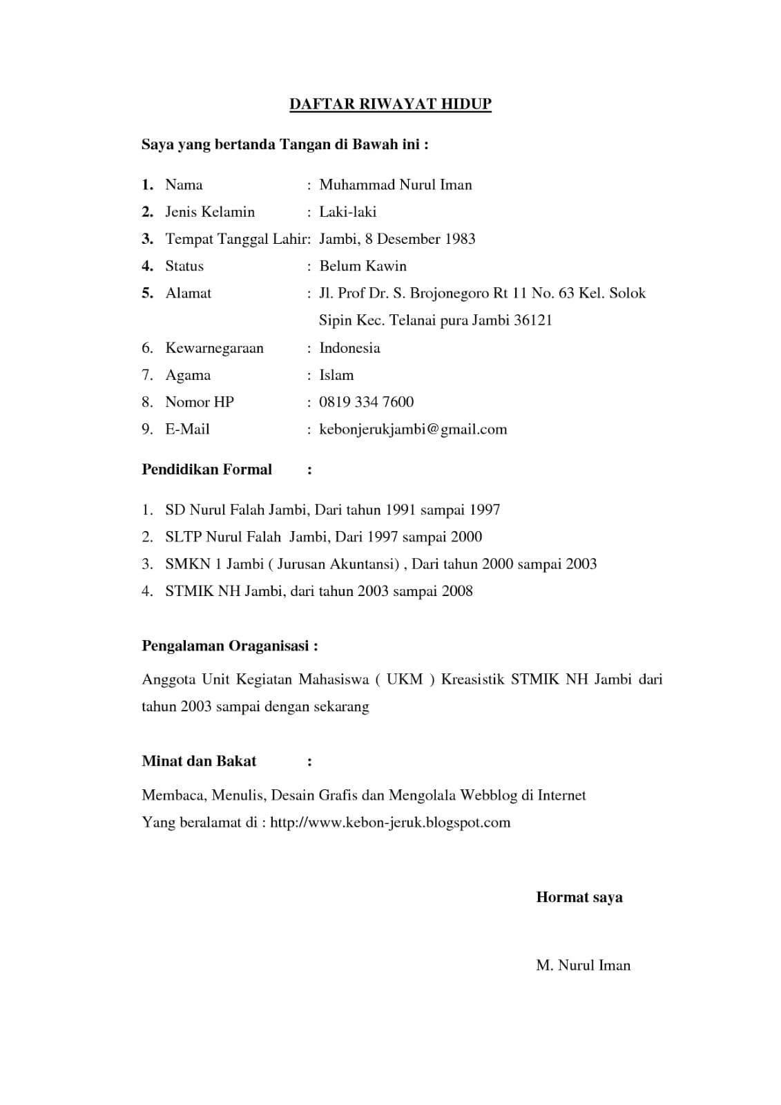 15 Contoh Daftar Riwayat Hidup Curriculum Vitae Cv Terlengkap Contoh Surat