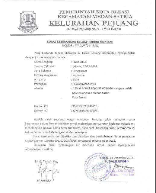 Contoh Surat Keterangan Belum Menikah dari Kelurahan dan Kepala Desa