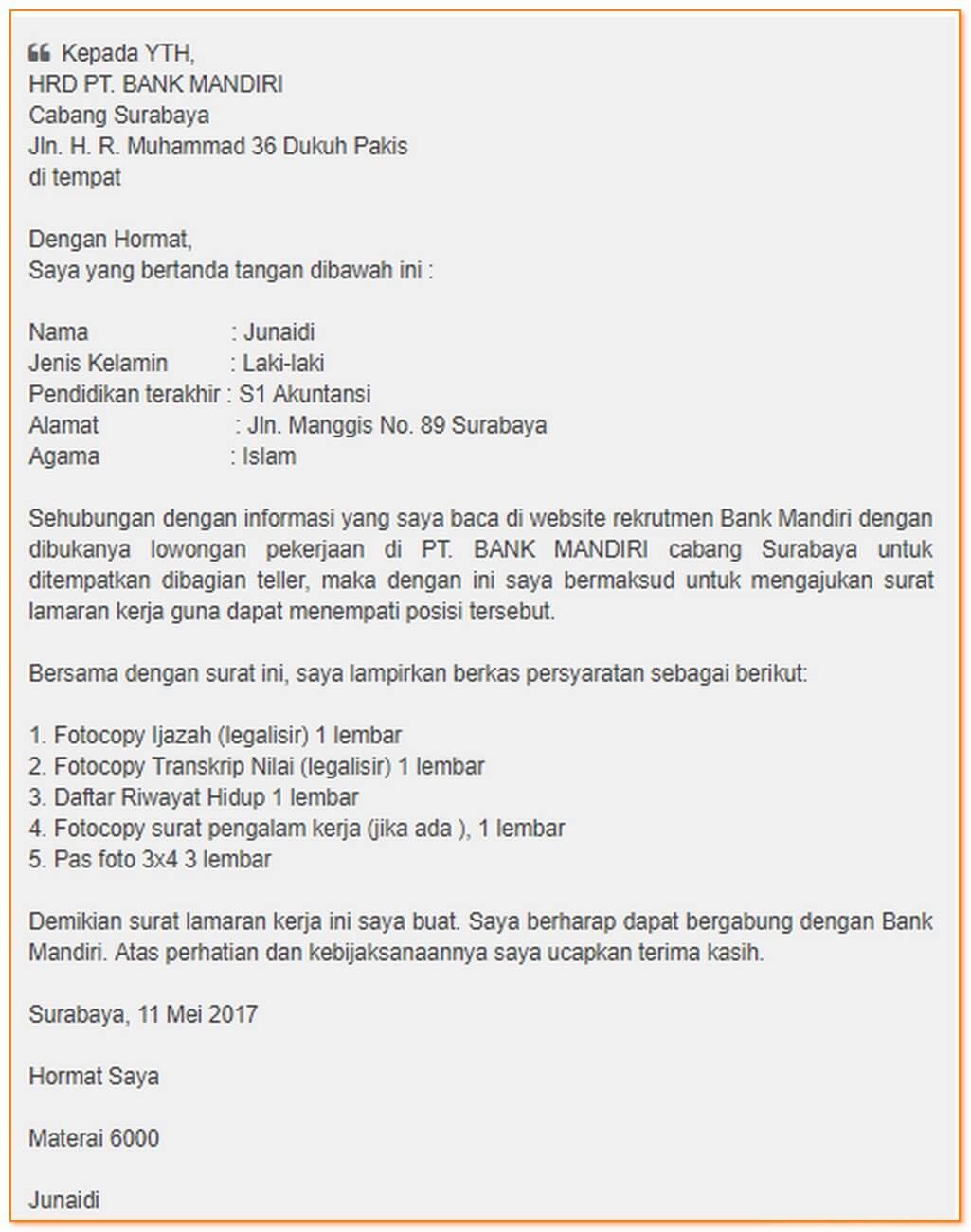 Contoh Surat Lamaran Kerja Di Bank Mandiri Contoh Surat