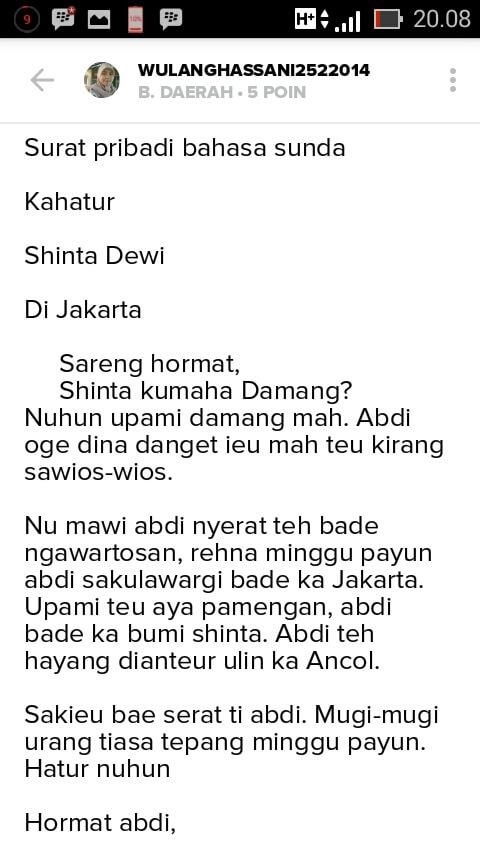 Contoh Surat Pribadi Bahasa Sunda
