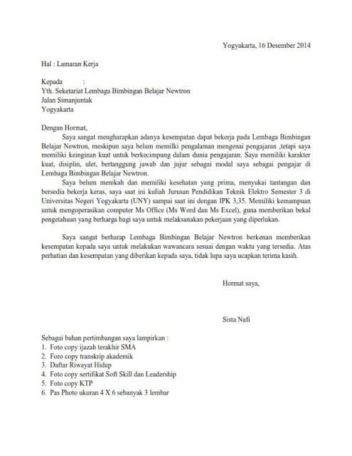 contoh surat lamaran kerja guru honorer yang masih kuliah