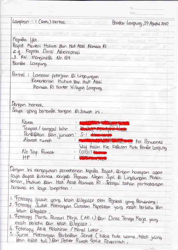 contoh surat lamaran kerja guru tulis tangan