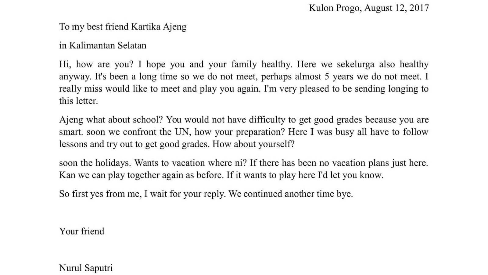 contoh surat pribadi dalam bahasa inggris