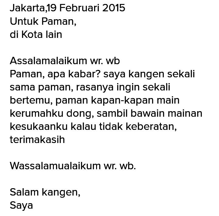 contoh surat pribadi pendek