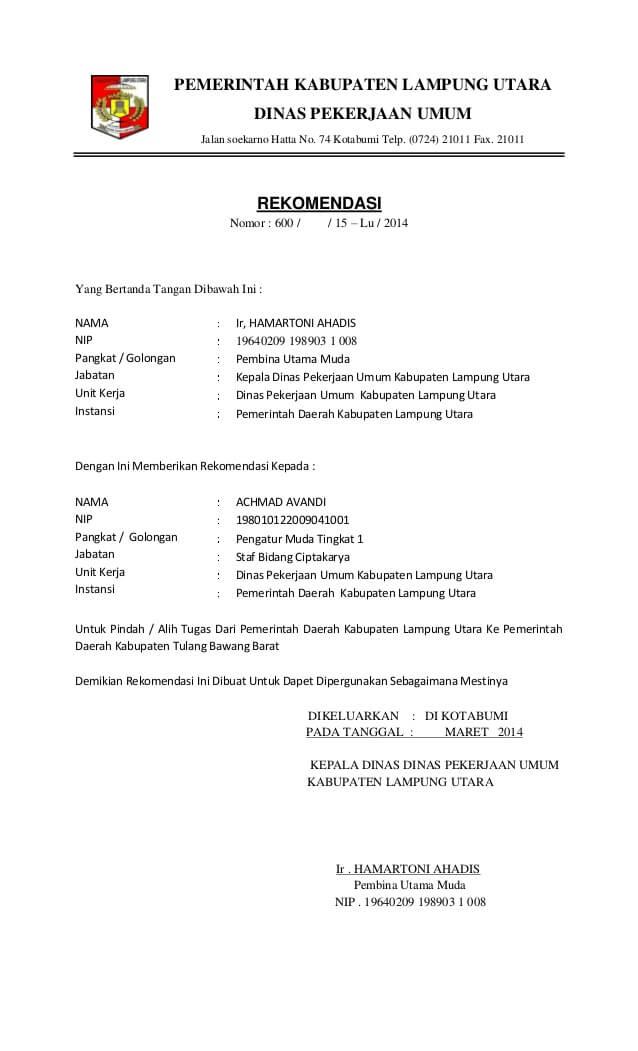 contoh surat referensi kerja dari dinas