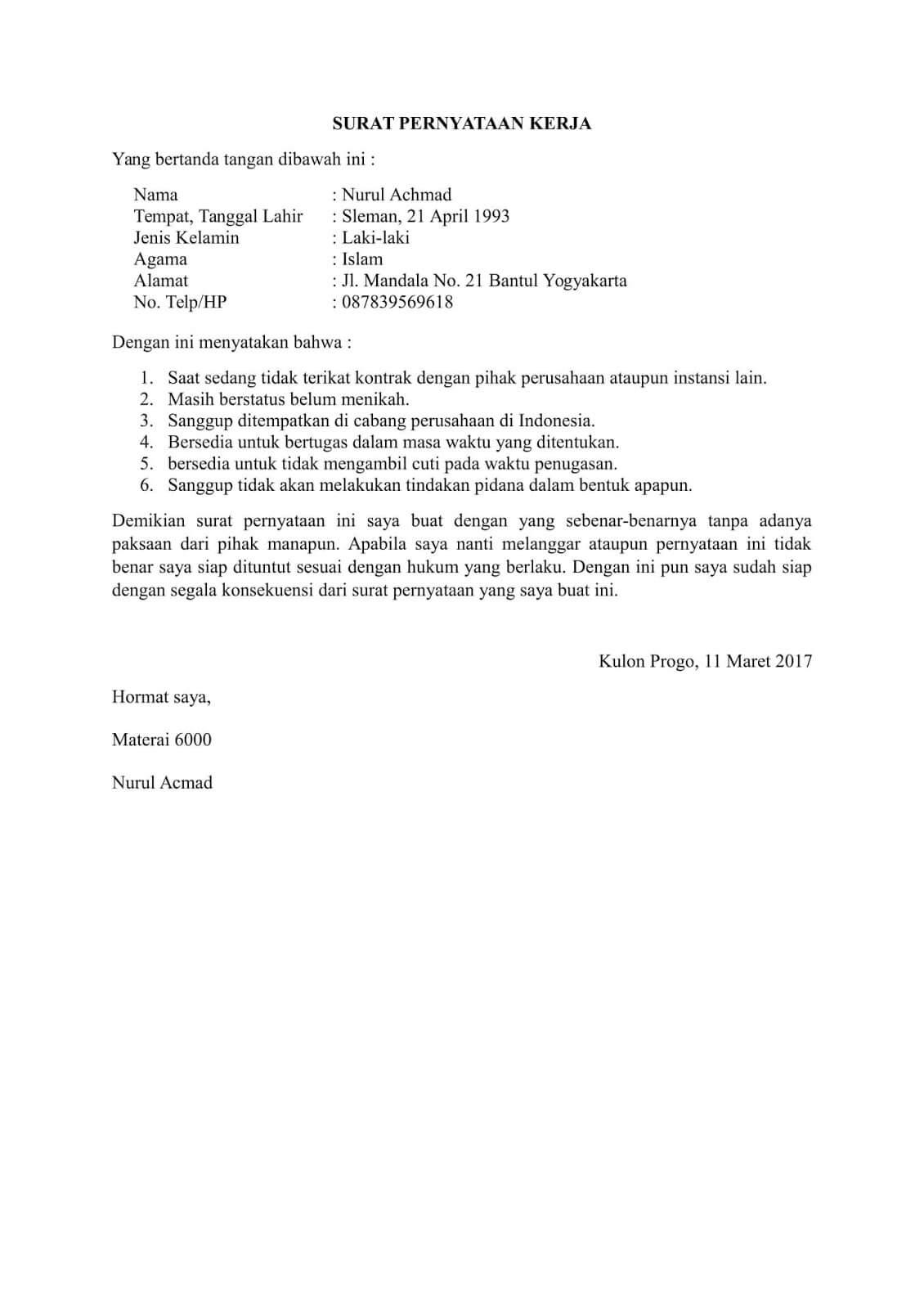 10+ Contoh Surat Pernyataan Kerja Terlengkap - Contoh Surat