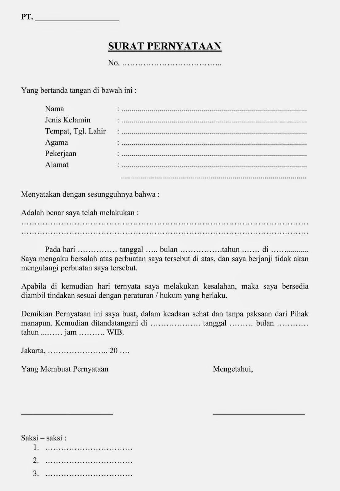 surat pernyataan kesalahan kerja