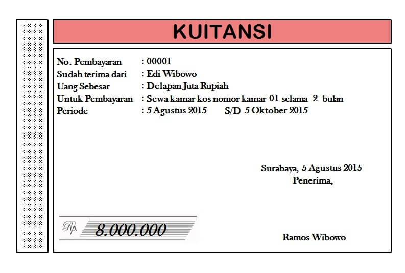 Contoh Kwitansi Kontrak Rumah
