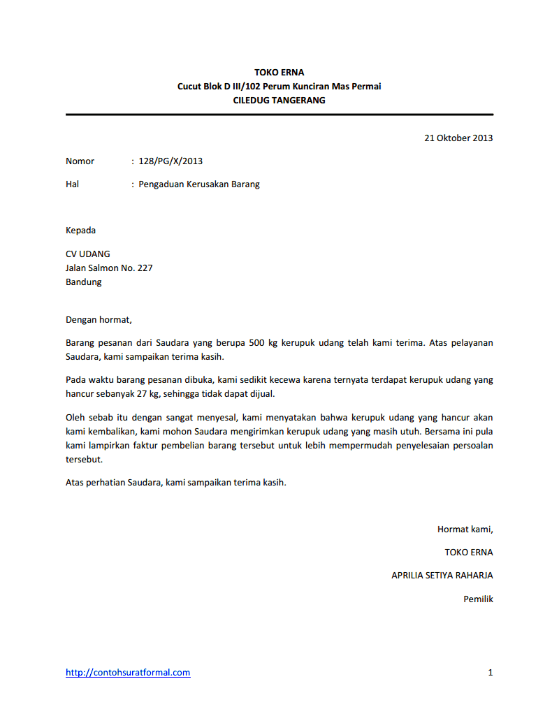 Contoh Surat Komplain Barang Rusak