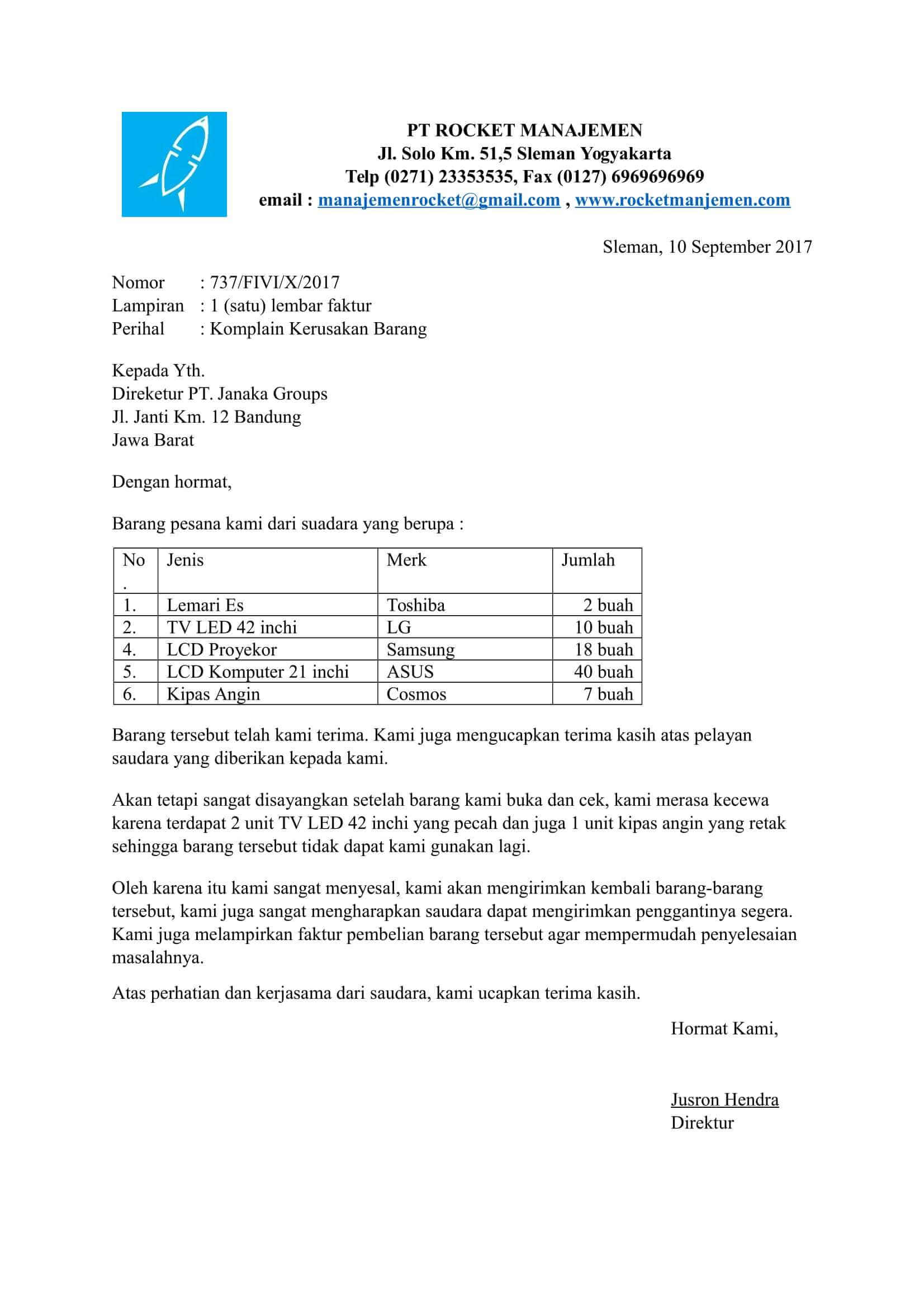 Contoh Surat Komplain Barang Tidak Sesuai