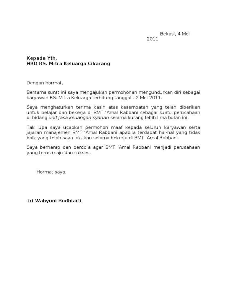 Contoh Surat Pengunduran Diri Rumah Sakit