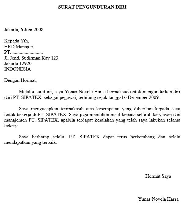 Contoh Surat Pengunduran Diri Resign Kerja Yang Baik Dan ...