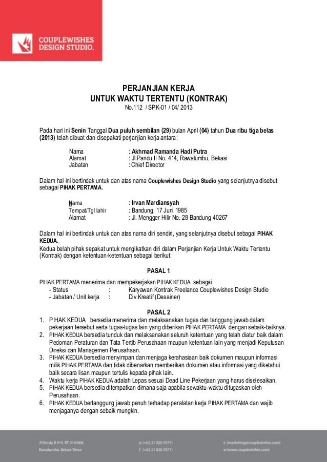 Contoh Surat Perjanjian Kerja Waktu Tertentu Masa Percobaan 3 Bulan 6 Bulan 1 Tahun