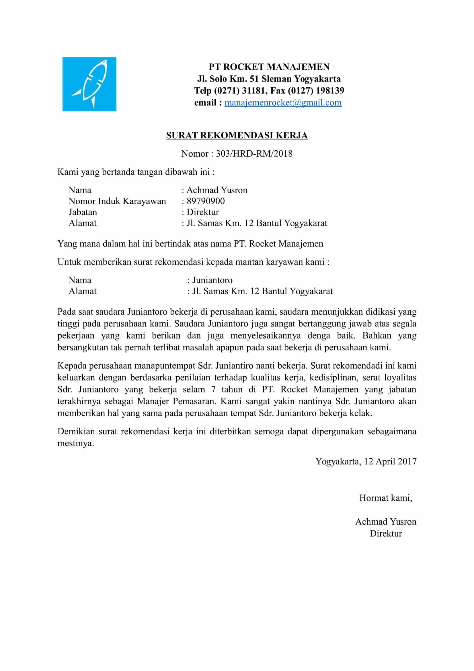 Contoh Surat Rekomendasi Kerja Dari Perusahaan