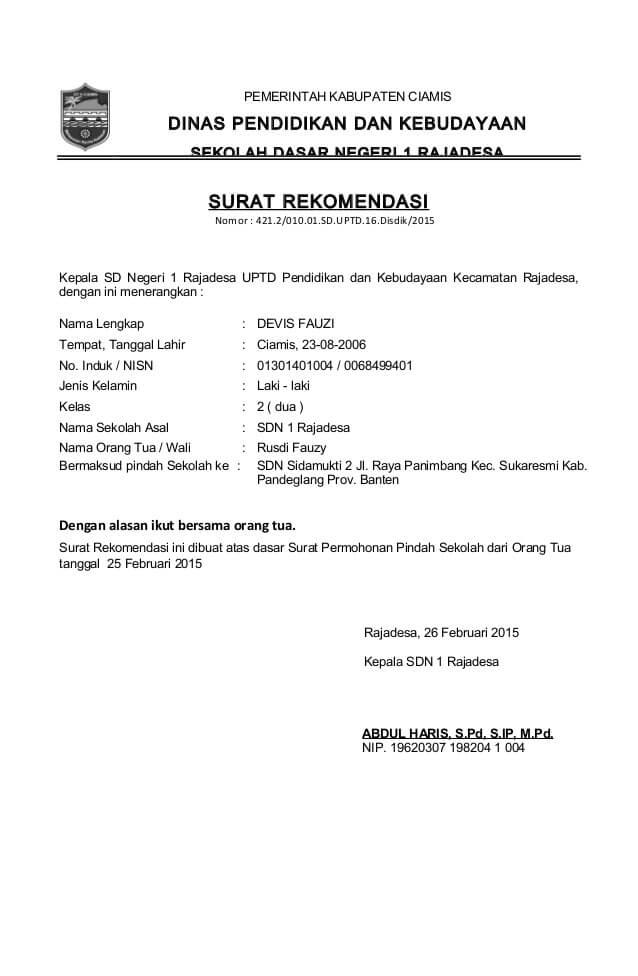 Contoh Surat Rekomendasi UPT Pendidikan