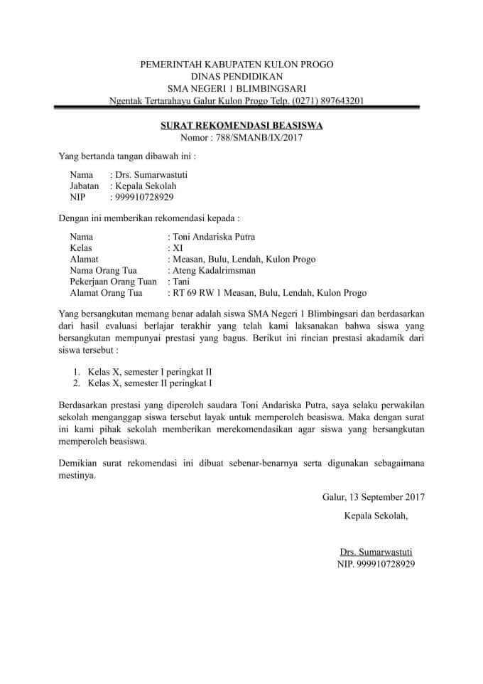 Contoh Surat Rekomendasi Untuk Mendapatkan Beasiswa