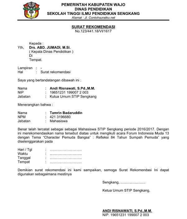Contoh Surat Rekomendasi Untuk Mengikuti Sebuah Program