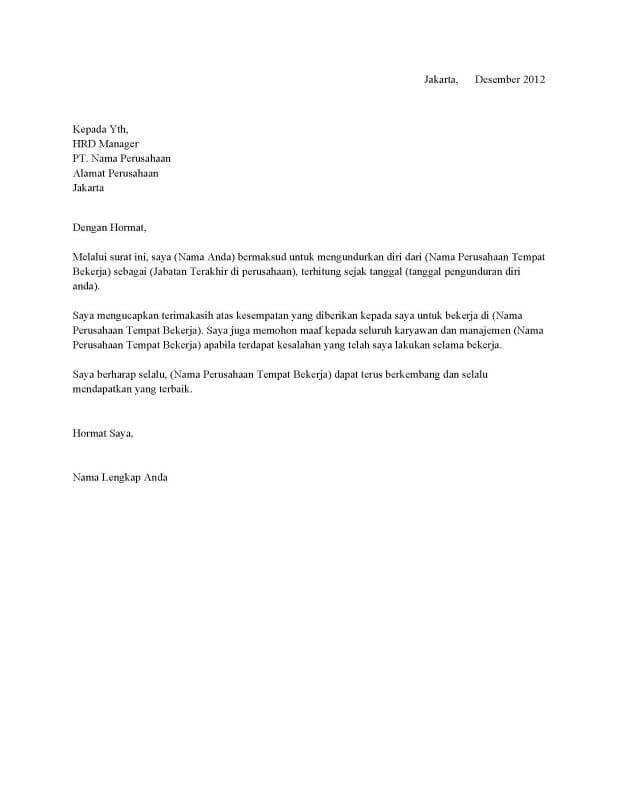 Contoh Surat Resign Simple