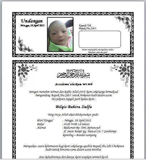 Contoh Undangan Selapanan Bayi