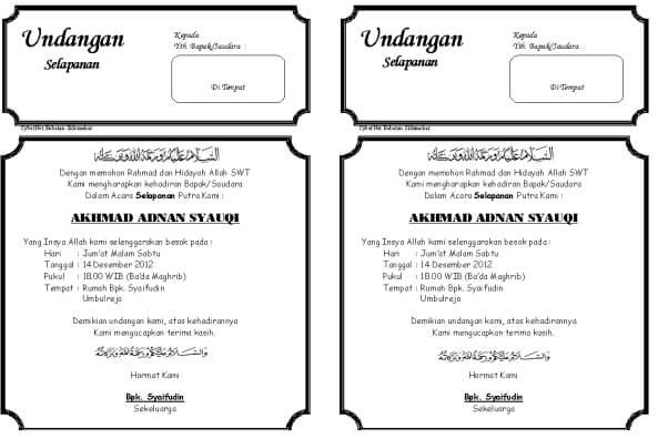 Contoh Undangan Syukuran Kelahiran Aqiqah dan Selapanan doc