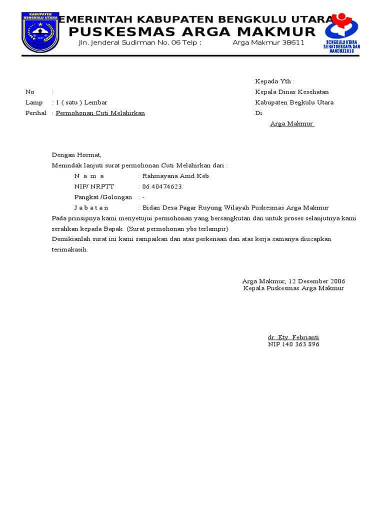 Contoh Surat Cuti Melahirkan Yang Baik Dan Benar Untuk Pegawai Negeri Swasta Pns Ataupun Karyawan Contoh Surat