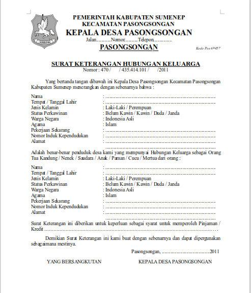 Contoh Surat Keterangan Hubungan Keluarga dari Desa