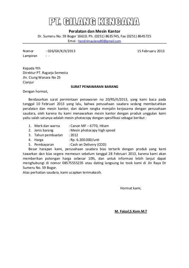 Contoh Surat Penawaran Barang atau Produk