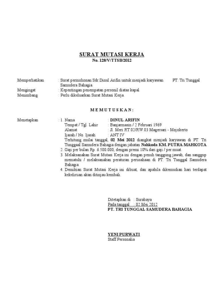 Contoh Surat Keputusan Mutasi Karyawan