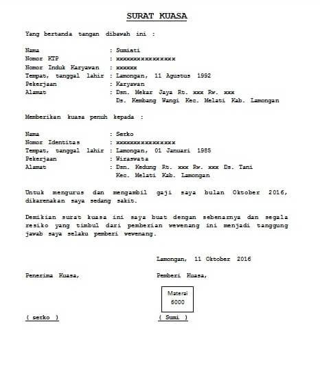 contoh surat kuasa pengambilan gaji