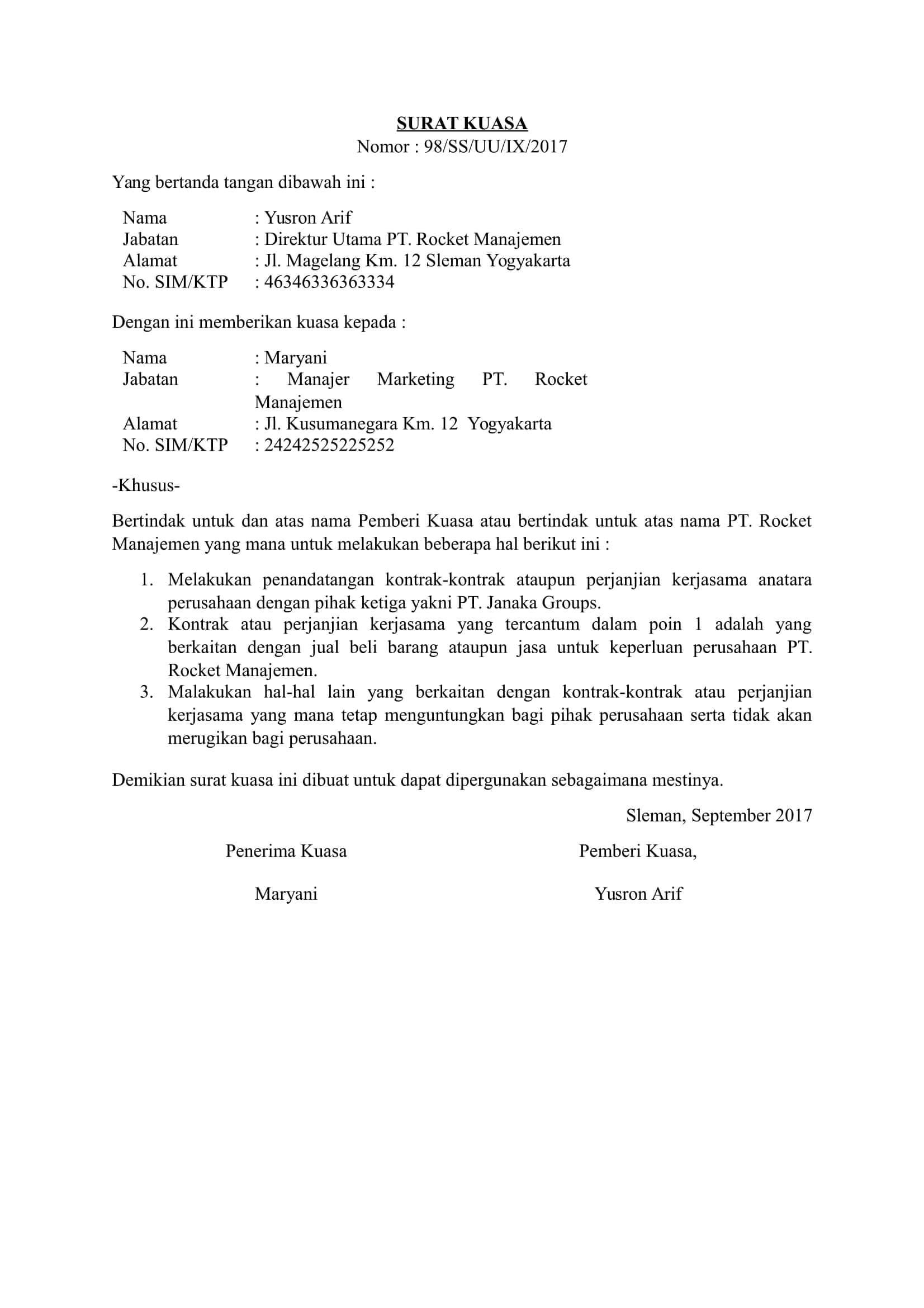 contoh surat kuasa perwakilan