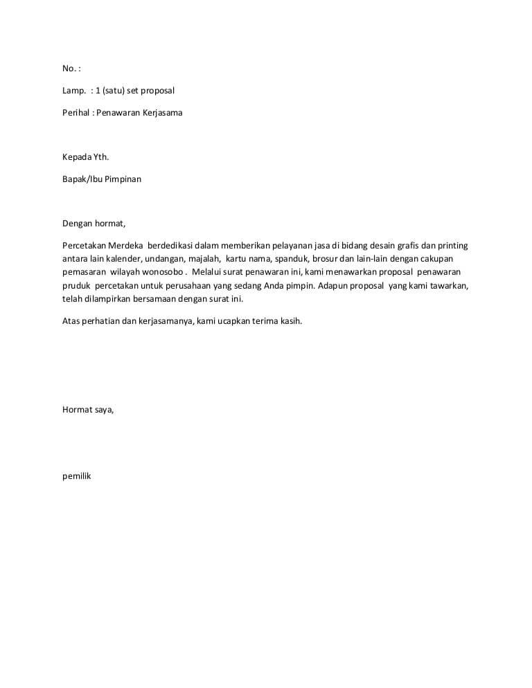 contoh surat penawaran jasa percetakan