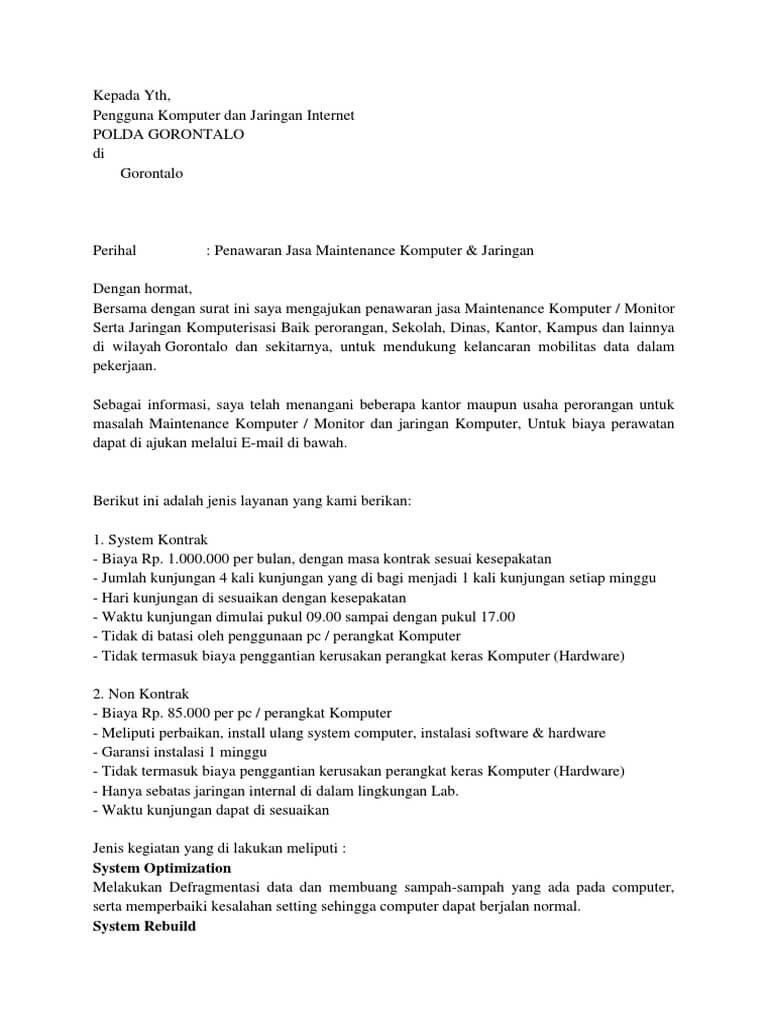 contoh surat penawaran jasa service komputer