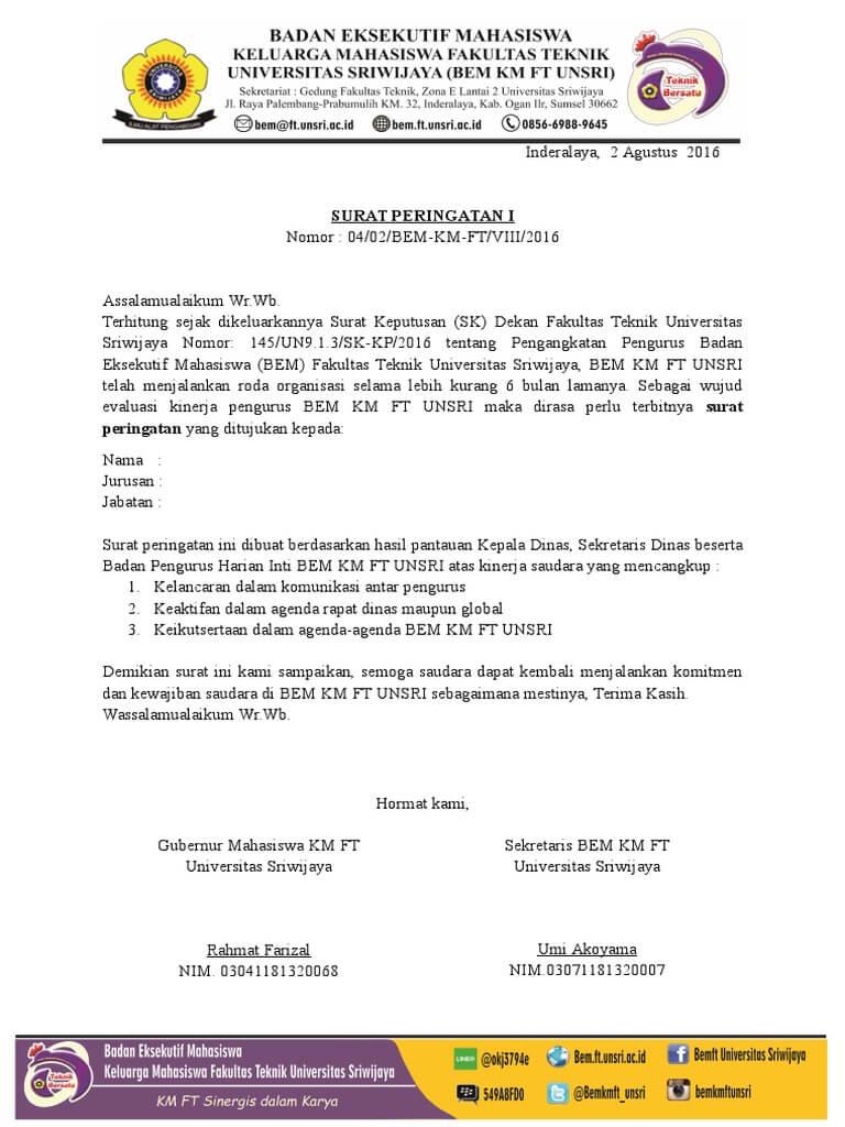 contoh surat peringatan mahasiswa