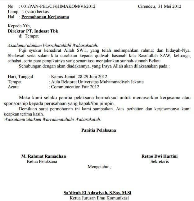 contoh surat permohonan kerjasama kegiatan