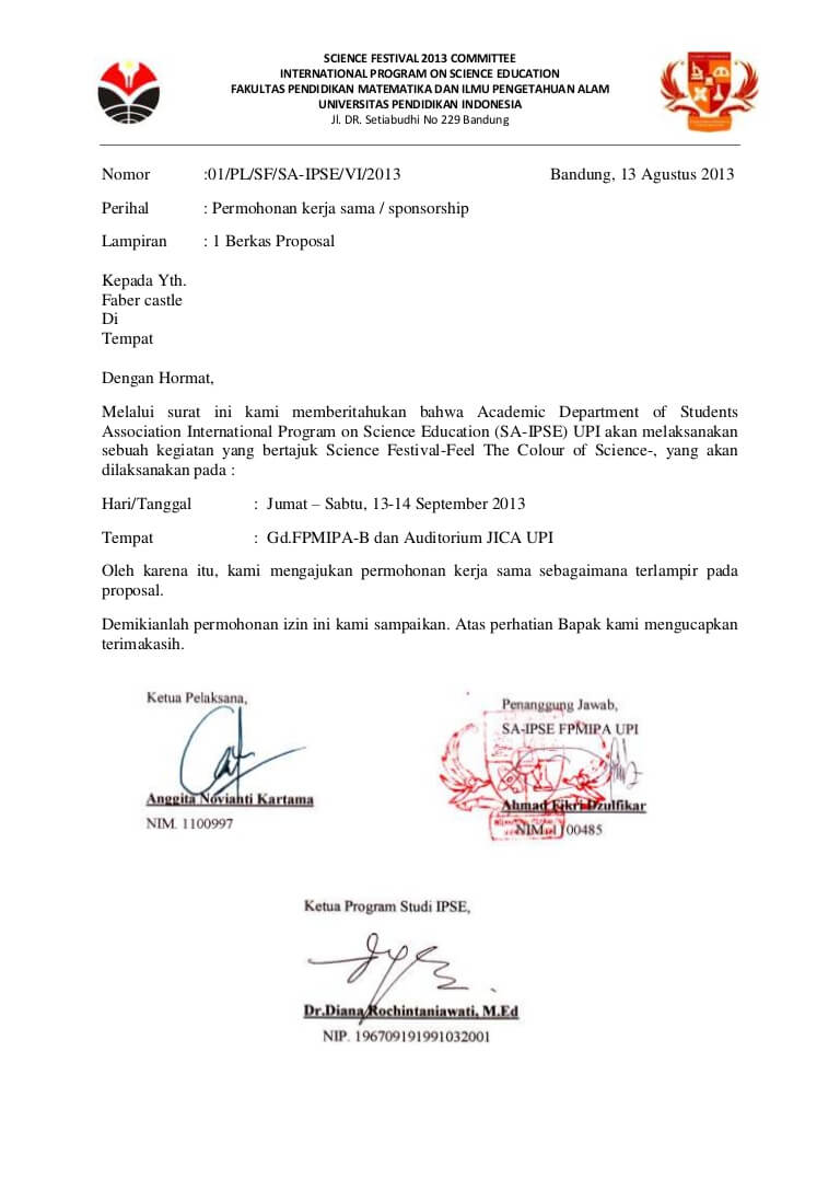 contoh surat permohonan kerjasama sponsorship
