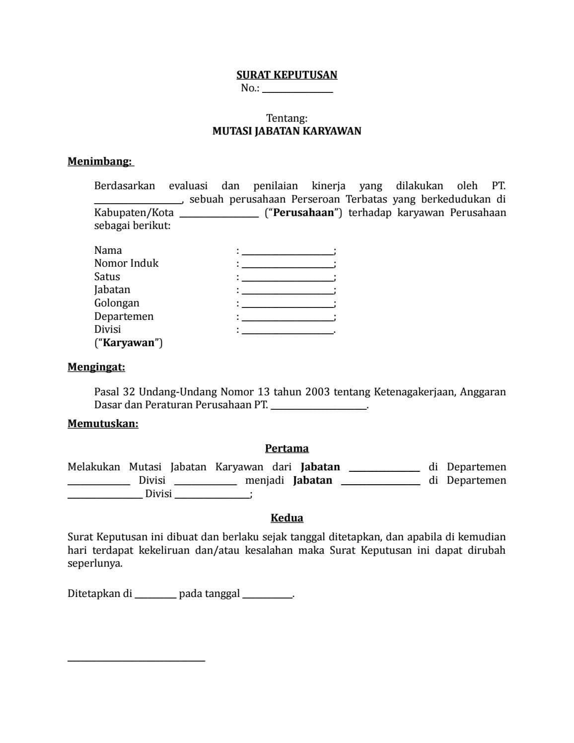 Contoh Surat Rolling Karyawan Swasta