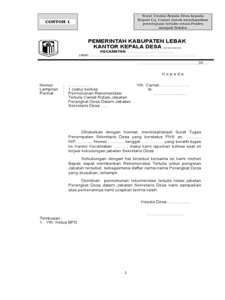 Contoh Surat Rotasi Jabatan