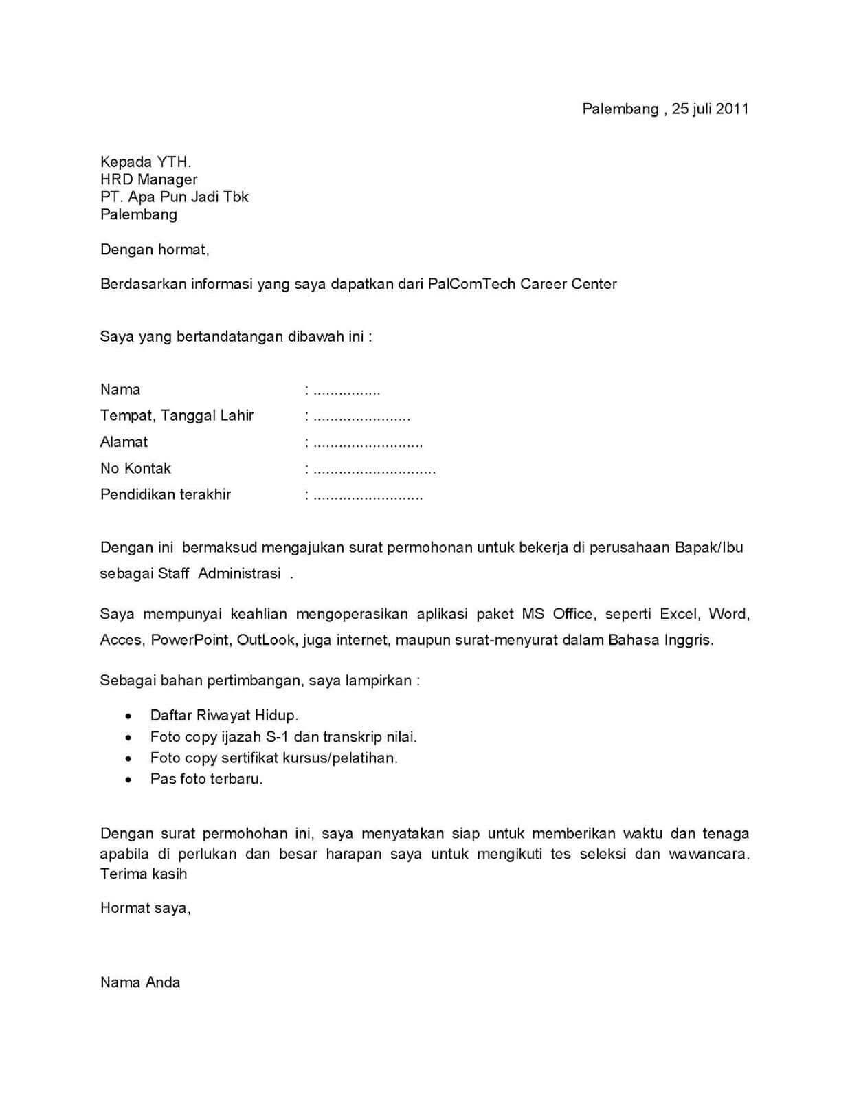 30 Contoh Surat Lamaran Pekerjaan Terlengkap Contoh Surat