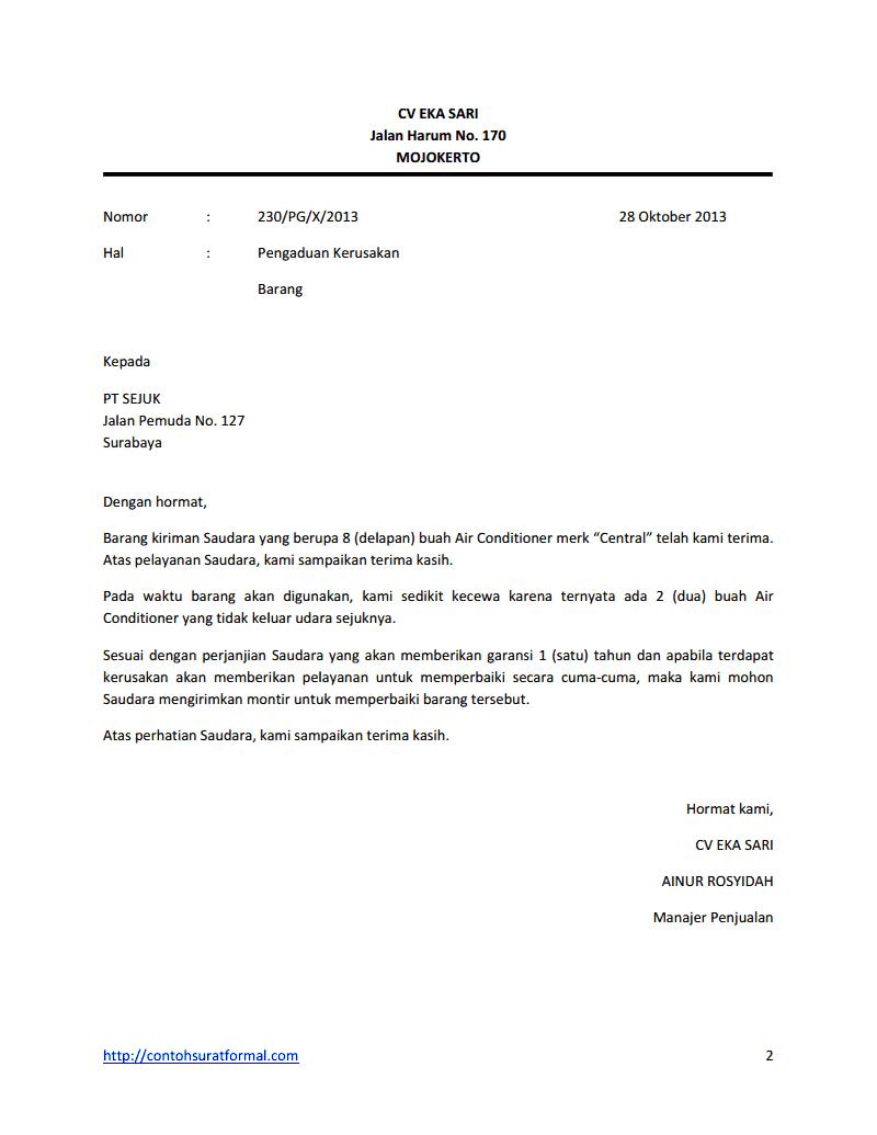 Contoh Surat Komplain Pengaduan Barang Produk Beserta Balasannya Contoh Surat