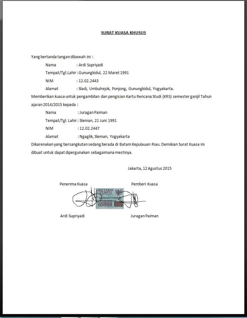 contoh surat kuasa pribadi khusus