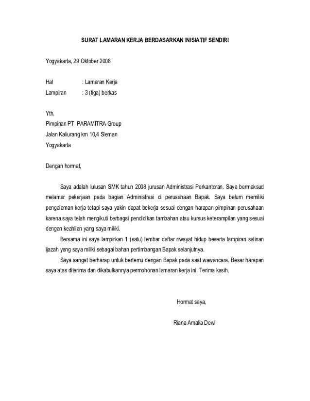 Contoh Surat Lamaran Kerja Via Email Secara Resmi Yang Baik Dan Benar Contoh Surat