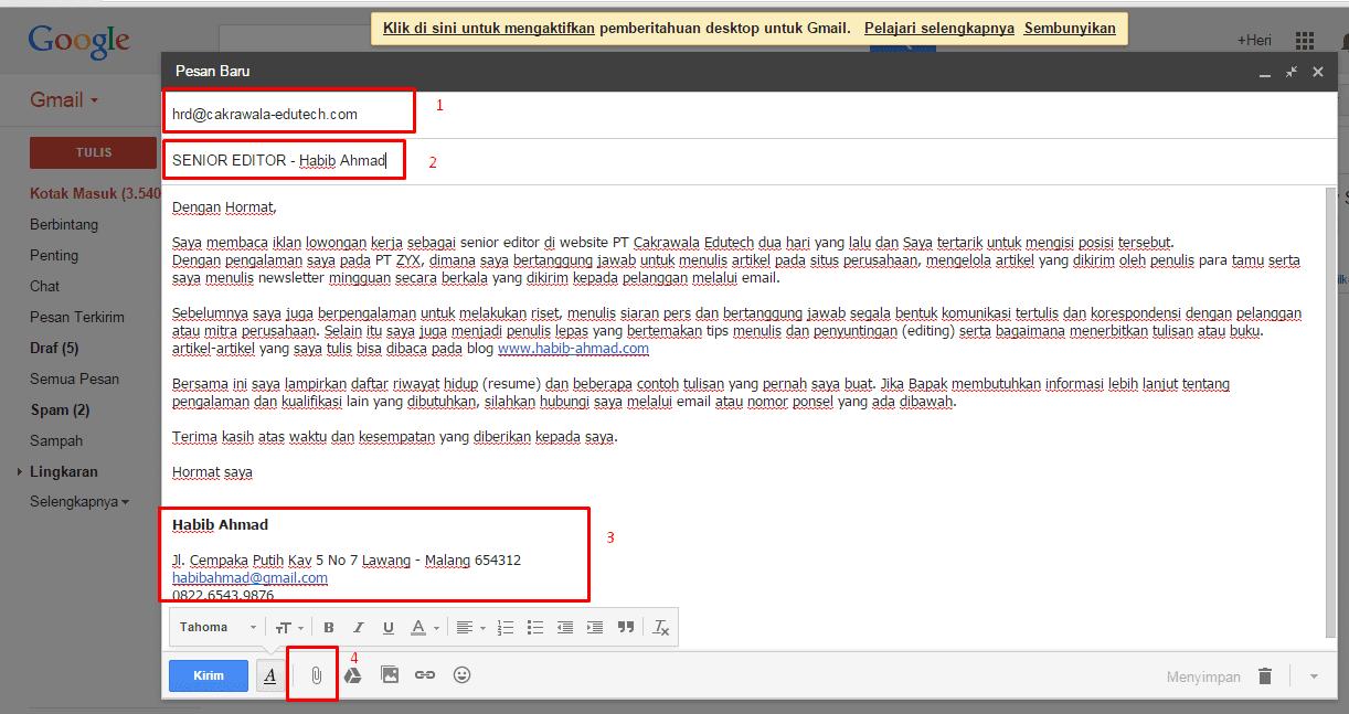 contoh surat lamaran via email beserta lampirannya