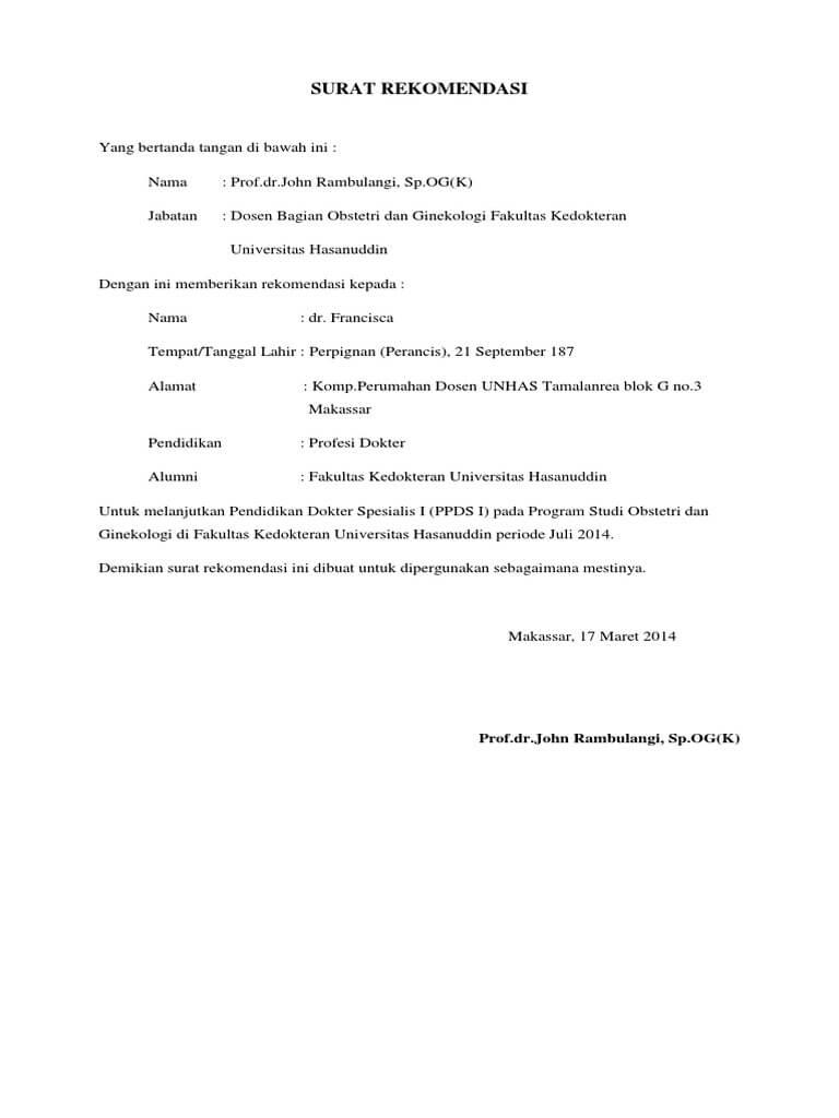 contoh surat rekomendasi kerja dari dosen