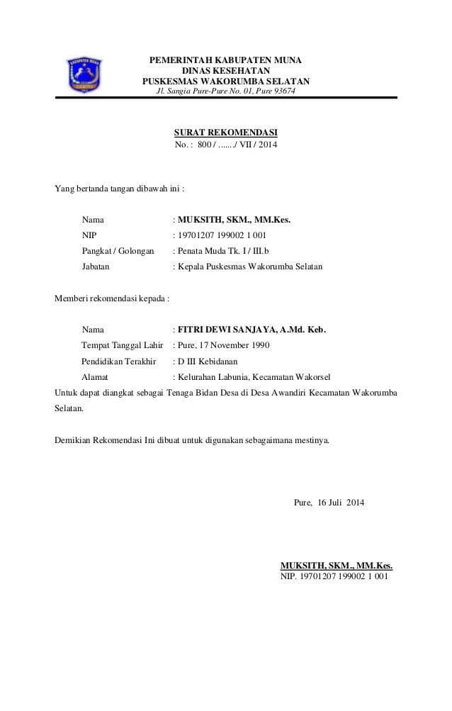 contoh surat rekomendasi kerja dari kepala desa