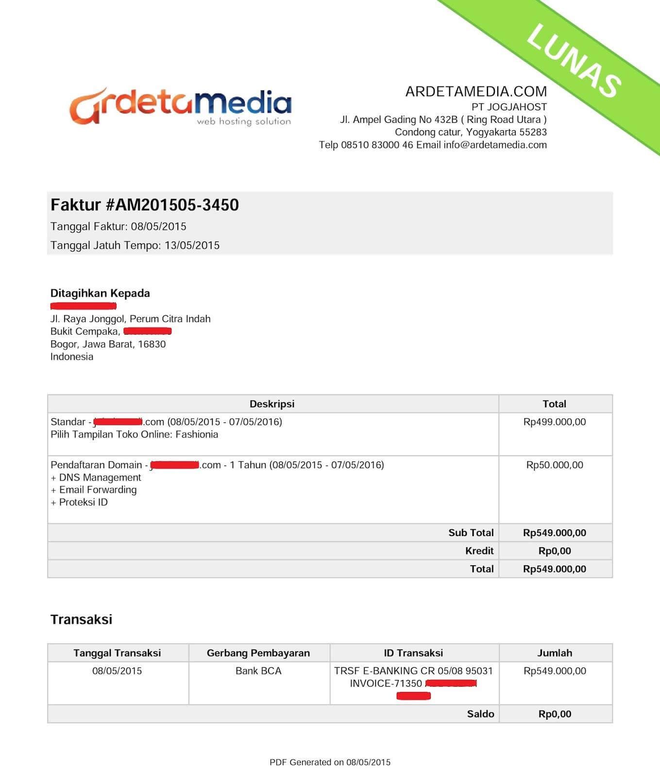contoh surat tagihan invoice